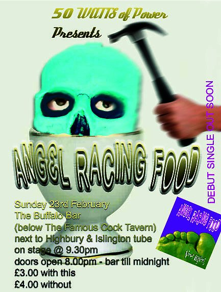 Angel Racing Food Famous Cock Tavern gig flyer